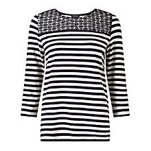 Buy Gerry Weber Lace Detail Stripe Jersey Top, Navy/White Online at johnlewis.com