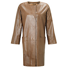 Buy Weekend MaxMara Taverna Leather Coat, Brown Online at johnlewis.com