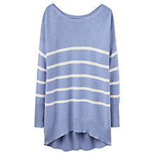 Buy Joules Marnia Ottoman Rib Textured Stripe Jumper, Blue Marl Online at johnlewis.com