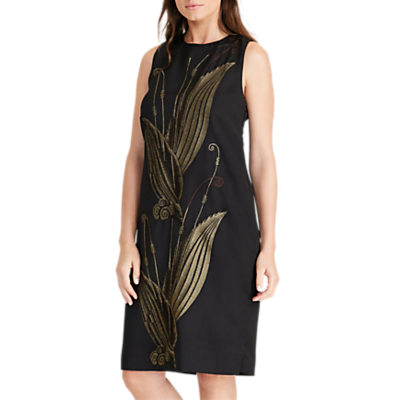 Lauren Ralph Lauren Akshara Crew Neck Dress, Black/Gold