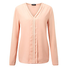 Buy Gerry Weber Pleat Detail V-Neck Top, Powder Online at johnlewis.com