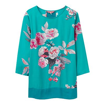 Joules Leah Floral Print Top, Emerald Beau Bloom.