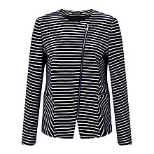 Buy Gerry Weber Zip Through Stripe Blazer, Navy/White Online at johnlewis.com