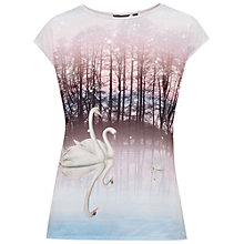 Buy Ted Baker Gloryia Sparkling Swan Woven T-Shirt, Straw Online at johnlewis.com