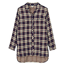 Buy Fat Face Tabitha Check Longline Shirt, Chocolate Online at johnlewis.com