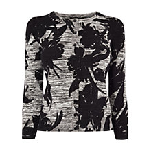 Buy Karen Millen Floral Knit Cardigan, Grey Online at johnlewis.com