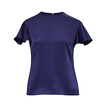 Buy Ted Baker Xylo Frill Sleeve Top, Blue Online at johnlewis.com