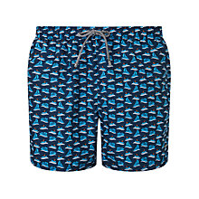 Buy BOSS 'Piranha' Patterned Swim Shorts, Blue/Orange Online at johnlewis.com
