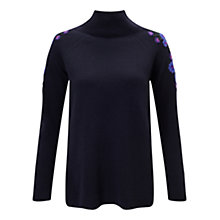 Buy East Floral Embellished Turtle Neck Jumper, Blue Online at johnlewis.com