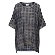 Buy East Hand Painted Check Top, Indigo Online at johnlewis.com