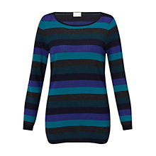 Buy East Stripe Knit Jumper, Teal Online at johnlewis.com