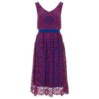 Finery Alderney Craft Lace Prom Dress, Magenta