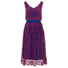 Buy Finery Alderney Craft Lace Prom Dress, Magenta Online at johnlewis.com