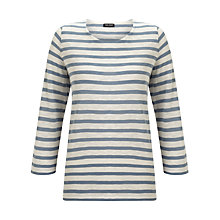 Buy Gerry Weber Chiffon Edge Stripe Jersey Top, Ecru/Blue Online at johnlewis.com
