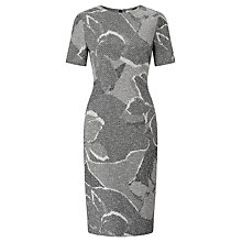 Buy BOSS Haraly Textured Print Dress, Grey Online at johnlewis.com