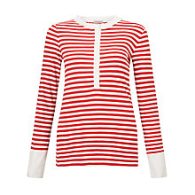 Buy Marella Matera Stripe Silk Detail Jersey Top, Red/White Online at johnlewis.com