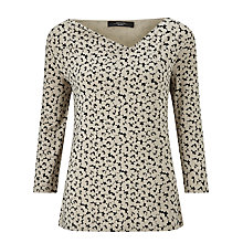Buy Weekend MaxMara Bronte Cowl Neck Jersey Top, Ecru/Black Online at johnlewis.com