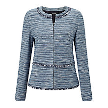 Buy Gerry Weber Tweed Edge To Edge Jacket, Blue Online at johnlewis.com