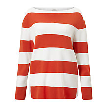 Buy Gerry Weber Bold Stripe Jumper, Orange/White Online at johnlewis.com