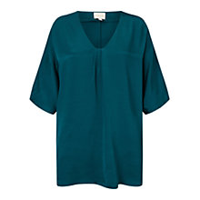 Buy East Satin Oversized Blouse, Teal Online at johnlewis.com