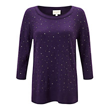 Buy East Sequin Jumper, Aubergine Online at johnlewis.com
