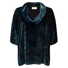 Buy East Silk Velvet Peacock Top, Emerald Online at johnlewis.com