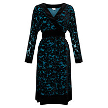 Buy East Rhiannon Devore Dress, Teal Online at johnlewis.com