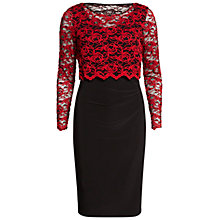 Buy Gina Bacconi Dress With 3D Embroidered Net Overtop, Black/Red Online at johnlewis.com
