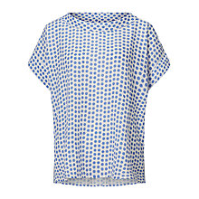 Buy East Spot Print Bardot Neck Top, Blue Online at johnlewis.com