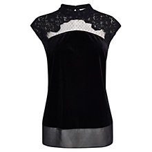 Buy Coast Flya Velvet Top, Black Online at johnlewis.com