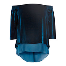 Buy Coast Phoenix Velvet Bardot Top, Teal Online at johnlewis.com
