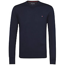 Buy Tommy Hilfiger Cotton Crew Neck Jumper, Navy Blazer Online at johnlewis.com