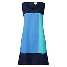 Buy East Linen Colour Block Dress, Blue Online at johnlewis.com
