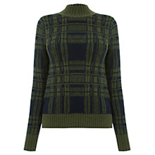 Buy Oasis Military Check Jumper, Khaki Online at johnlewis.com