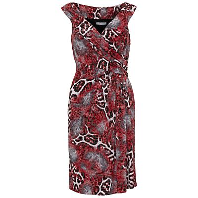 Gina Bacconi Animal Glimmer Jersey Dress, Red