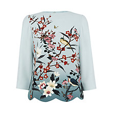 Buy Oasis Heather Placement Scallop Top, Blue Online at johnlewis.com