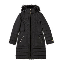 Buy Precis Petite Gracie Faux Fur Collar Coat, Black Online at johnlewis.com