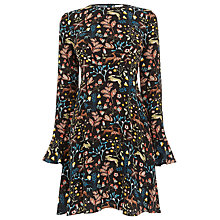 Buy Warehouse Thistle Print Skater Dress, Black Online at johnlewis.com