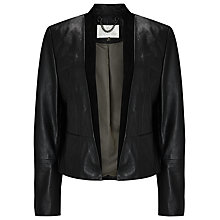 Buy Jacques Vert Edge to Edge Leather Jacket, Black Online at johnlewis.com
