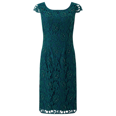 Jacques Vert Beaded Lace Dress, Dark Green