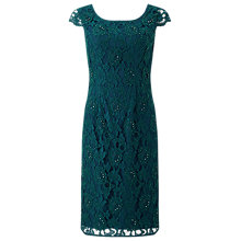Buy Jacques Vert Beaded Lace Dress, Dark Green Online at johnlewis.com