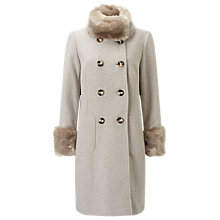 Buy Jacques Vert Double Twill Fur Trim Coat Online at johnlewis.com
