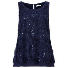 Buy Jacques Vert Feather Sparkle 3D Top, Dark Blue Online at johnlewis.com