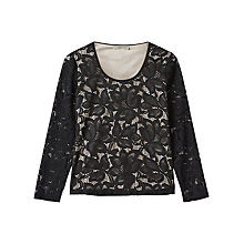 Buy Precis Petite Vana Floral Lace Jersey Top, Black Online at johnlewis.com