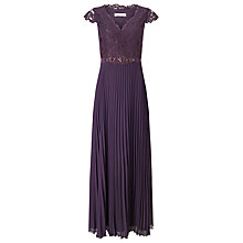Buy Jacques Vert Pleated Embellished Maxi Dress, Dark Purple Online at johnlewis.com