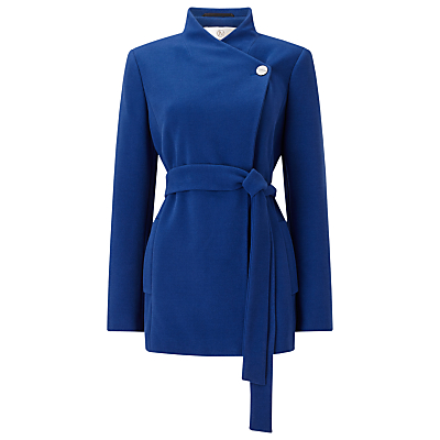 Jacques Vert Asymmetric Short Coat, Mid Blue