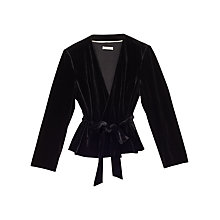 Buy Precis Petite Cora Velvet Wrap Belted Jacket, Black Online at johnlewis.com