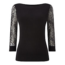 Buy Precis Petite Gabby Lace Sleeve Top, Black Online at johnlewis.com