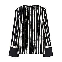 Buy Warehouse Torn Stripe Top, Black Stripe Online at johnlewis.com