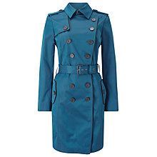 Buy Jacques Vert Contrast Trim Trench Coat, Dark Green Online at johnlewis.com